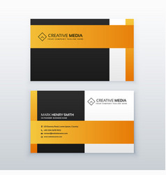 professional yellow and black business card vector image