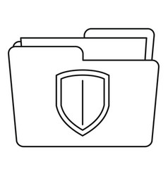 protected folder icon outline style vector image