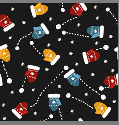 Seamless pattern with mittens and snowballs vector