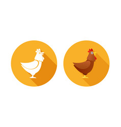 set icons orange color with chickens vector image
