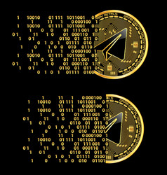 Set of crypto currency gram golden symbols vector