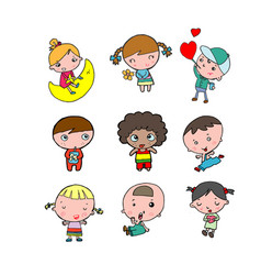 set of diverse kids isolated on white background vector image