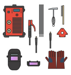 set of welding arc equipment machine glove helmet vector image