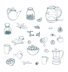 Set tea party objects collection with hand drawn vector