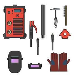 set welding arc equipment machine glove helmet vector image