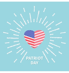 Shining heart flag Star and strip Patriot day Flat vector image