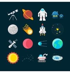 Space Universe Colored Icon Set vector