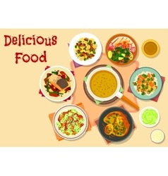 Spicy dishes for dinner menu icon design vector image