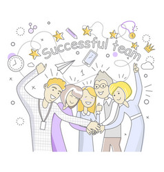 successful team people design flat vector image