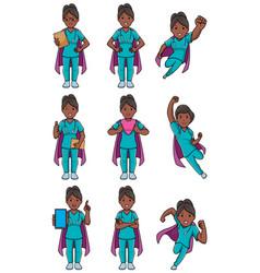 Super nurse indian female set vector