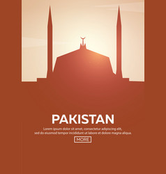 Travel poster to pakistan landmarks silhouettes vector