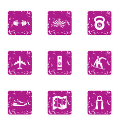 tropical training icons set grunge style vector image