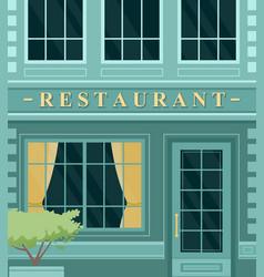 Vintage cafe restaurant building facade on city vector