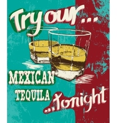 Vintage poster two stemware with tequila vector