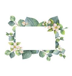 Watercolor green floral card vector