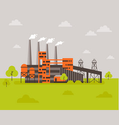 with factory building in the vector image