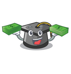 with money graduation hat mascot cartoon vector image