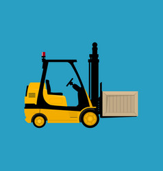 Yellow forklift truck with a box vector