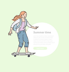 young girl ride skateboard down street summer time vector image