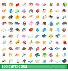 100 cute icons set isometric 3d style vector image