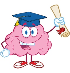 Brain Character Graduate Holding up A Diploma vector image