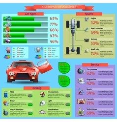 Car Repair Infographic Set vector image vector image