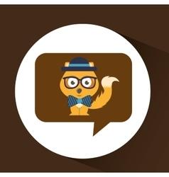 cute fox hipster symbol icon design vector image