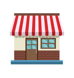 store front door and windows facade shop vector image