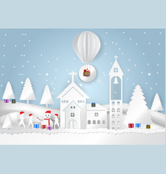 winter season with snowflake with santa claus on vector image