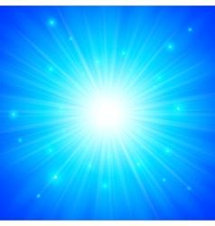 Blue shining sun background vector image
