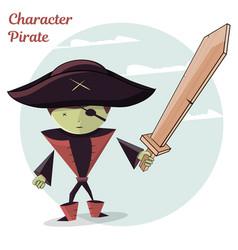cartoon kids character pirate vector image vector image