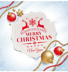 Christmas greeting card and decor on a snow vector image vector image