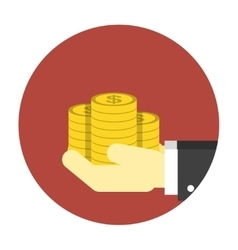 Coins on hands icon vector image vector image