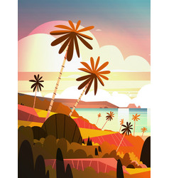 beautiful sunset on ocean tropical landscape vector image vector image