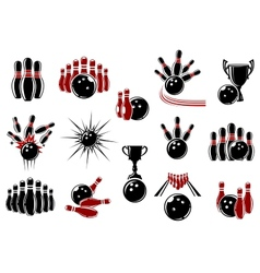 Bowling symbols with equipment and comics elements vector image vector image