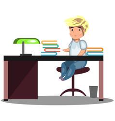 man sitting at a desk vector image vector image