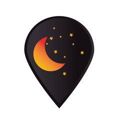 mark icon pointer gps with moon and stars vector image