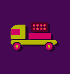Mobile military rocket launcher icon in sticker vector