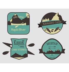 Set of Kayaking campsite logo templates Outdoor vector image vector image