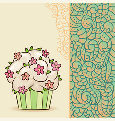 sweet cupcake with flowers and leaves vector image