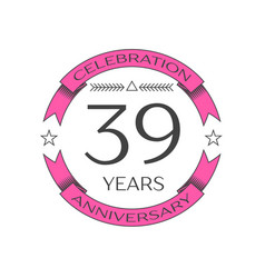 thirty nine years anniversary celebration logo vector image vector image