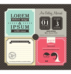 Vintage Boarding Pass Ticket Wedding Invitation vector image vector image