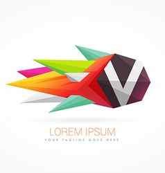 colorful abstract logo with letter V vector image