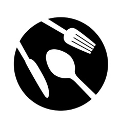 Contour plate with cutlery icon image vector