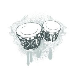 drums emblem vector image vector image