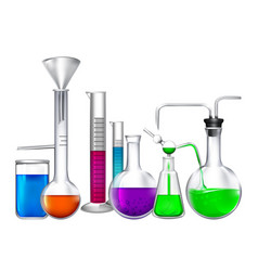 glass tube with different chemical liquid vector image vector image