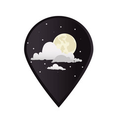 Mark icon pointer gps with moon night with clouds vector