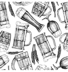 pattern with beer glasses and mugs vector image vector image
