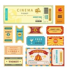 Retro tickets set vector image vector image