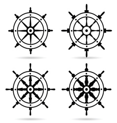 rudder in black color set on white background vector image vector image